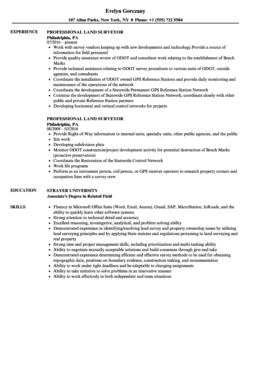 professional land surveyor resume samples