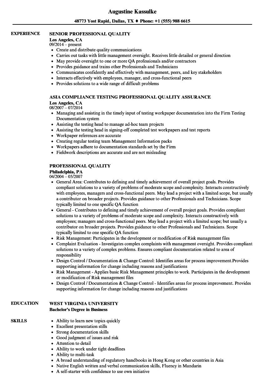 professional quality resume samples