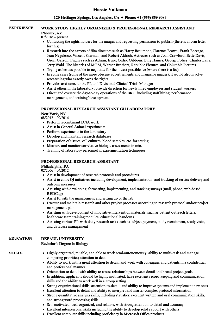 Professional Research Assistant Resume Samples Velvet Jobs