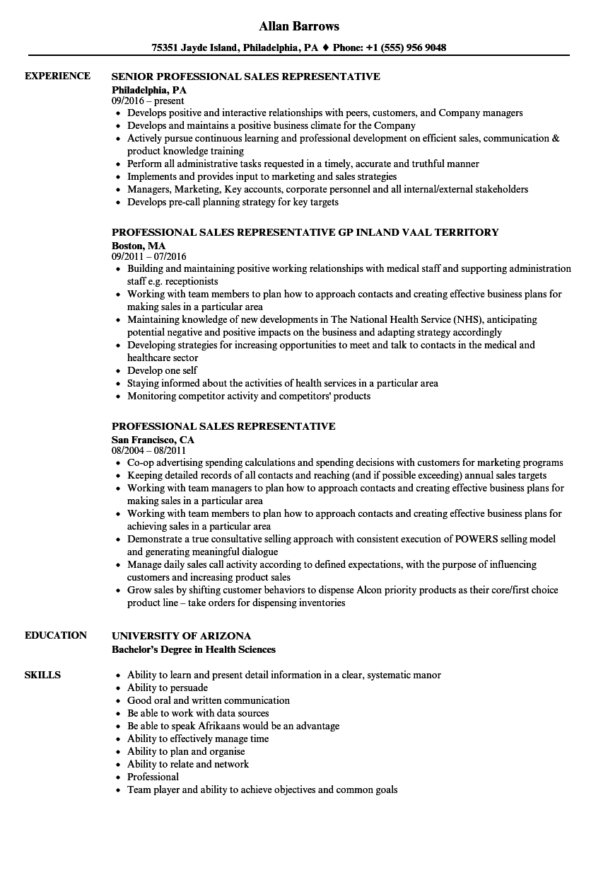 professional sales representative resume samples
