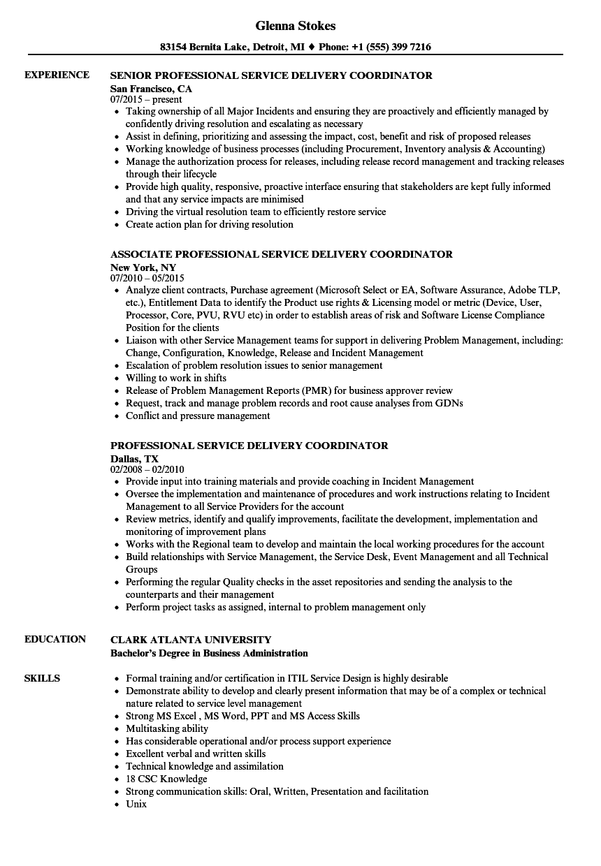 professional service delivery coordinator resume samples
