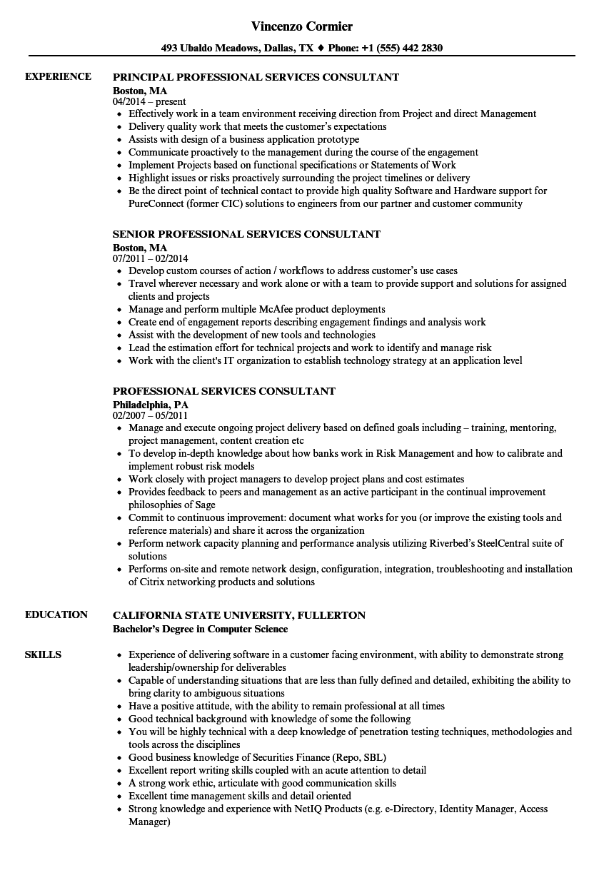 Professional Services Consultant Resume Samples | Velvet Jobs
