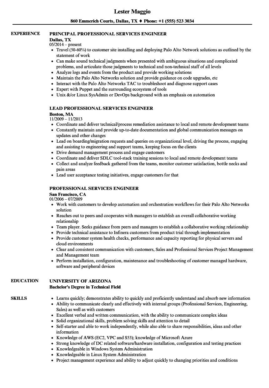 professional services engineer resume samples