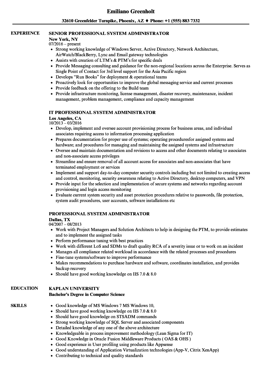 tsm administration sample resume free journal templates