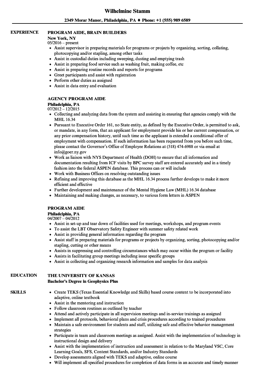 Program Aide Resume Samples | Velvet Jobs