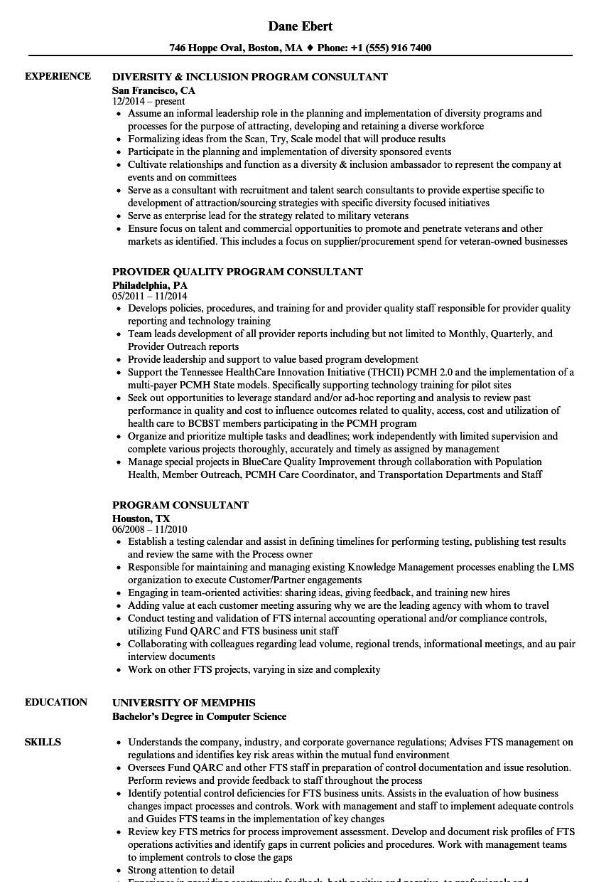download program consultant resume sample as image file - Resume Examples Science Field