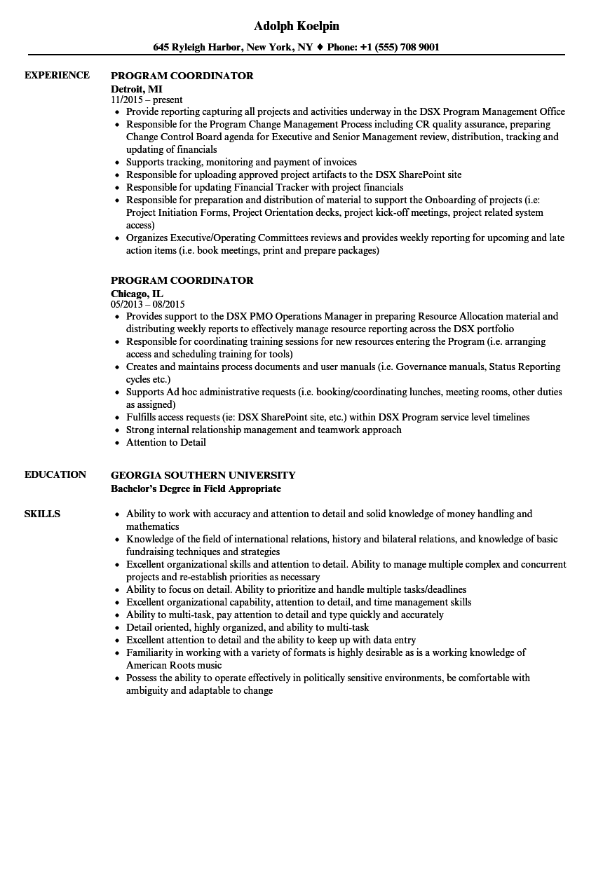 program coordinator resume samples