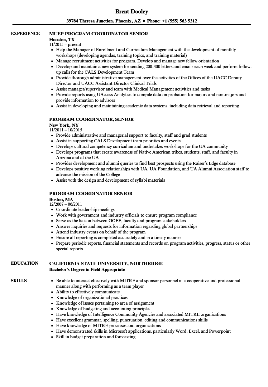 program coordinator  senior resume samples