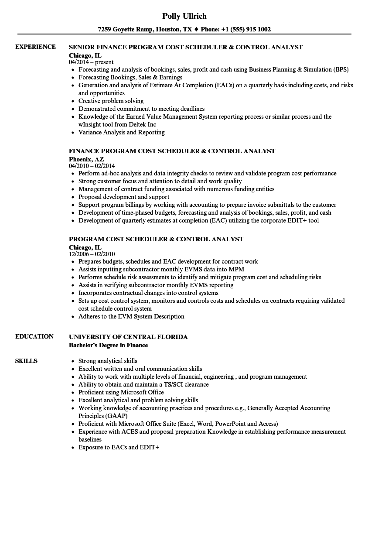program cost scheduler  u0026 control resume samples
