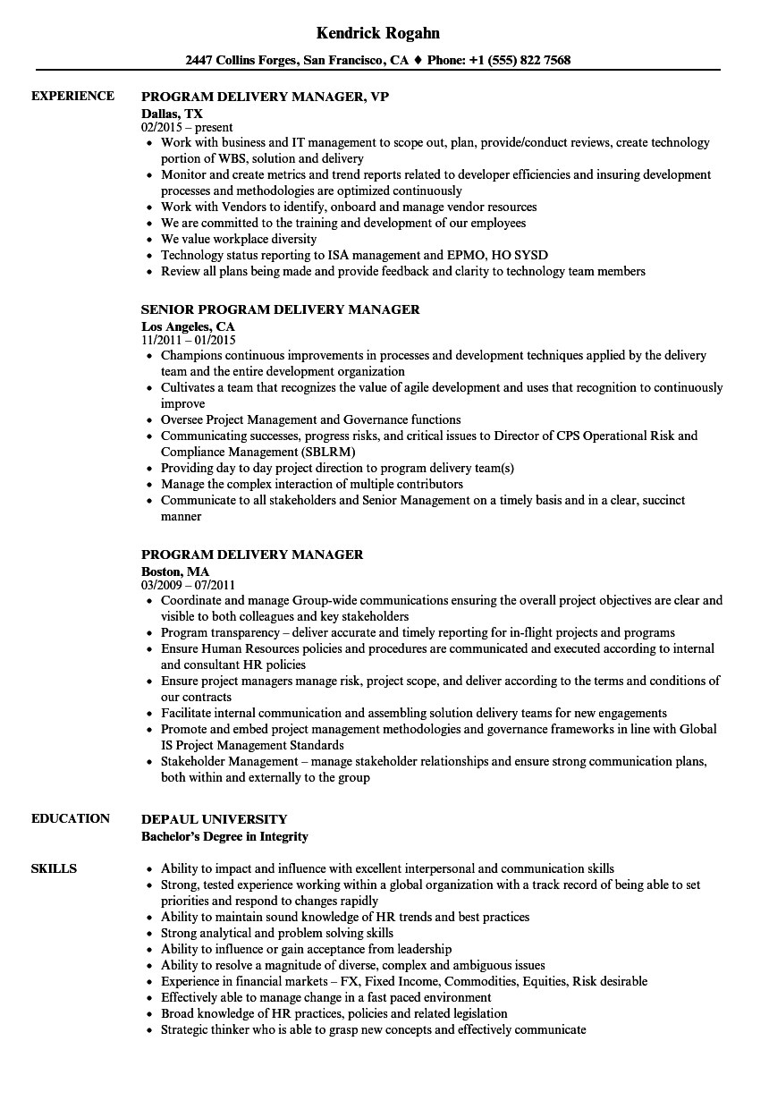program delivery manager resume samples