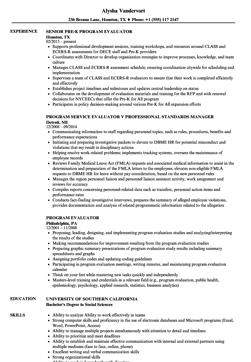 program evaluator resume samples