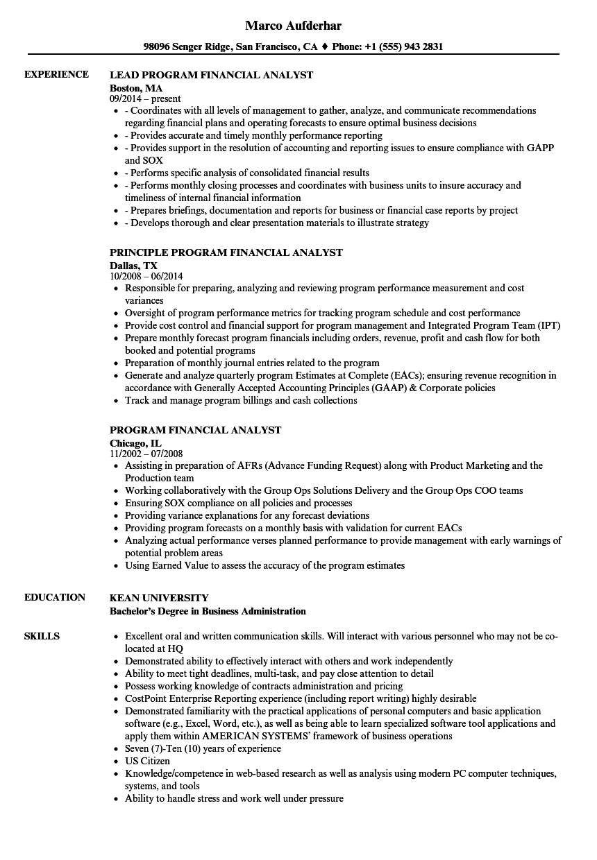 program financial analyst resume samples velvet jobs