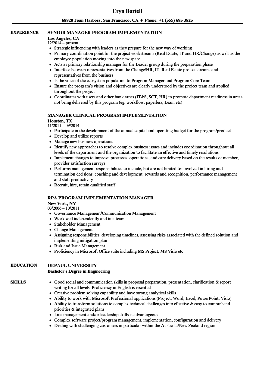 implementation manager resume