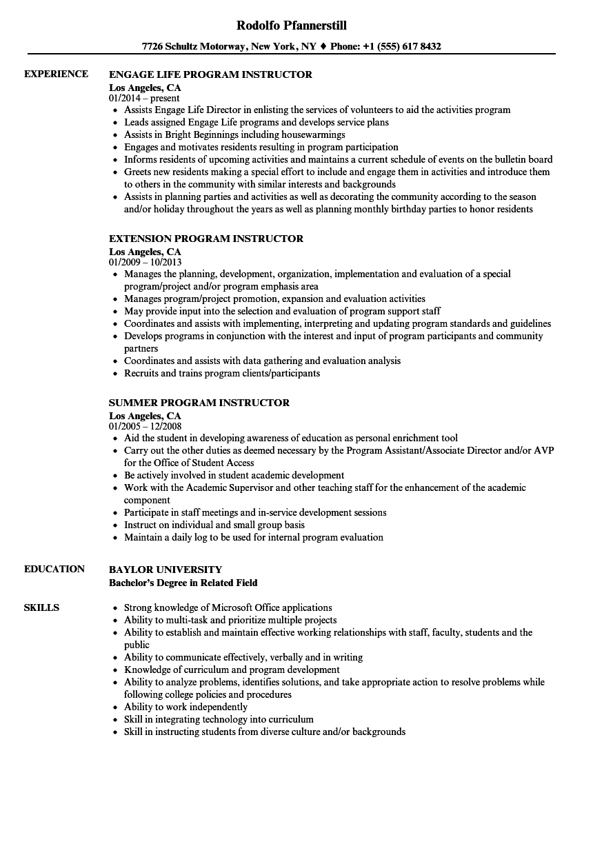 Program Instructor Resume Samples Velvet Jobs