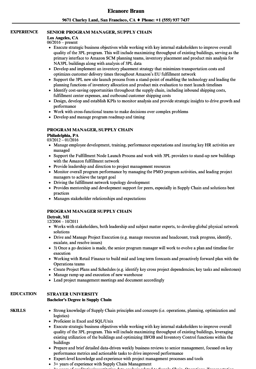 Program Manager Supply Chain Resume Samples Velvet Jobs