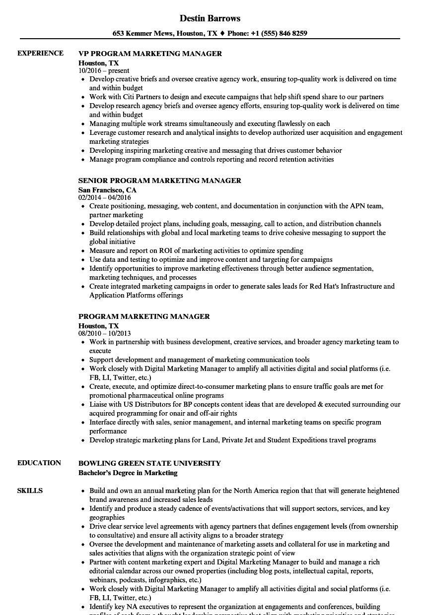 Program Marketing Manager Resume Samples | Velvet Jobs