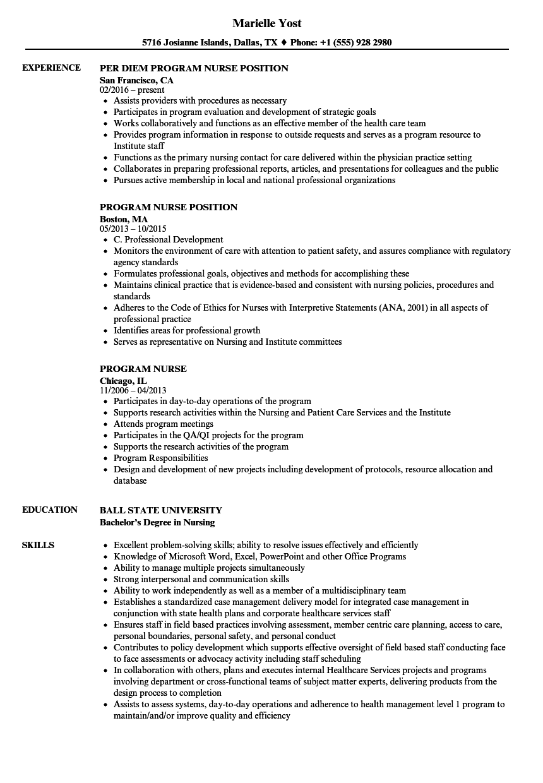 program nurse resume samples