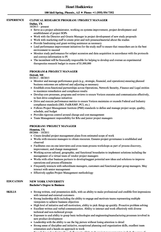 program    project manager resume samples