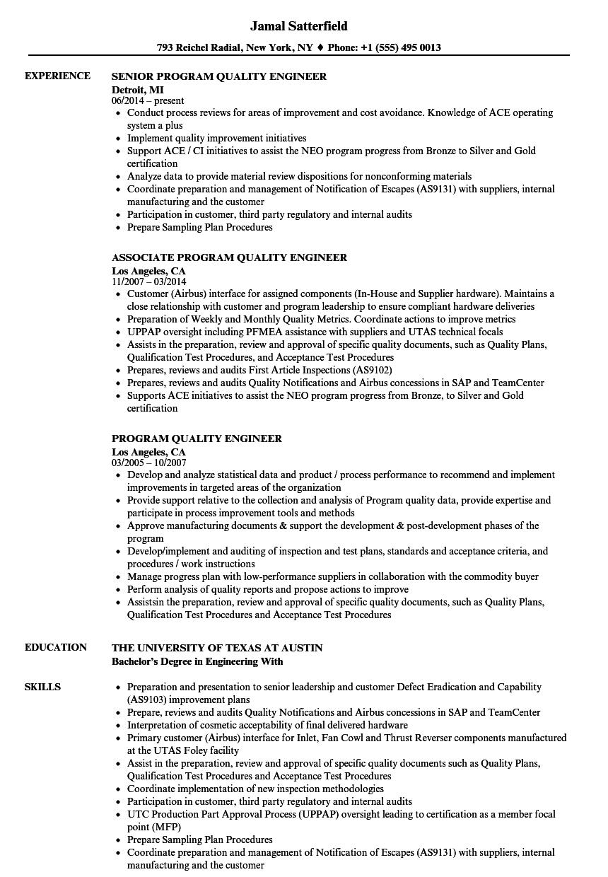 quality engineer resume resume production engineer sample resume for