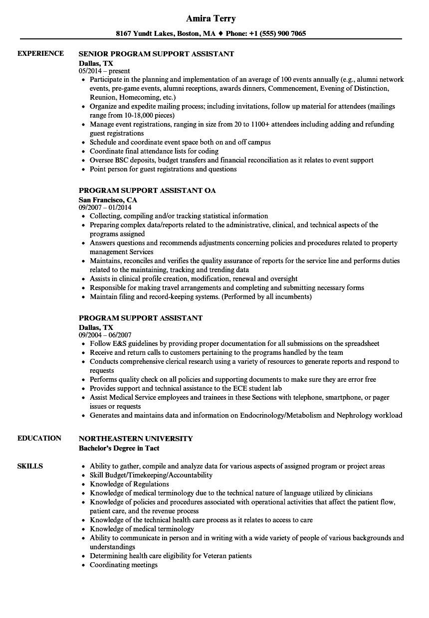 Program Support Assistant Resume Samples Velvet Jobs