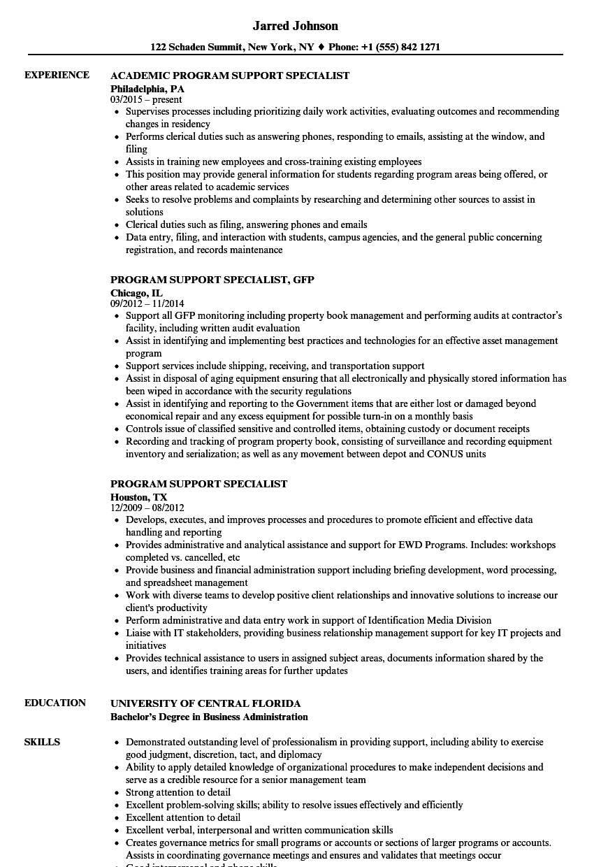 program support specialist resume samples
