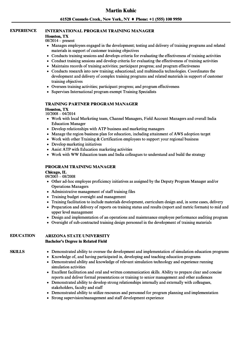 program training manager resume samples