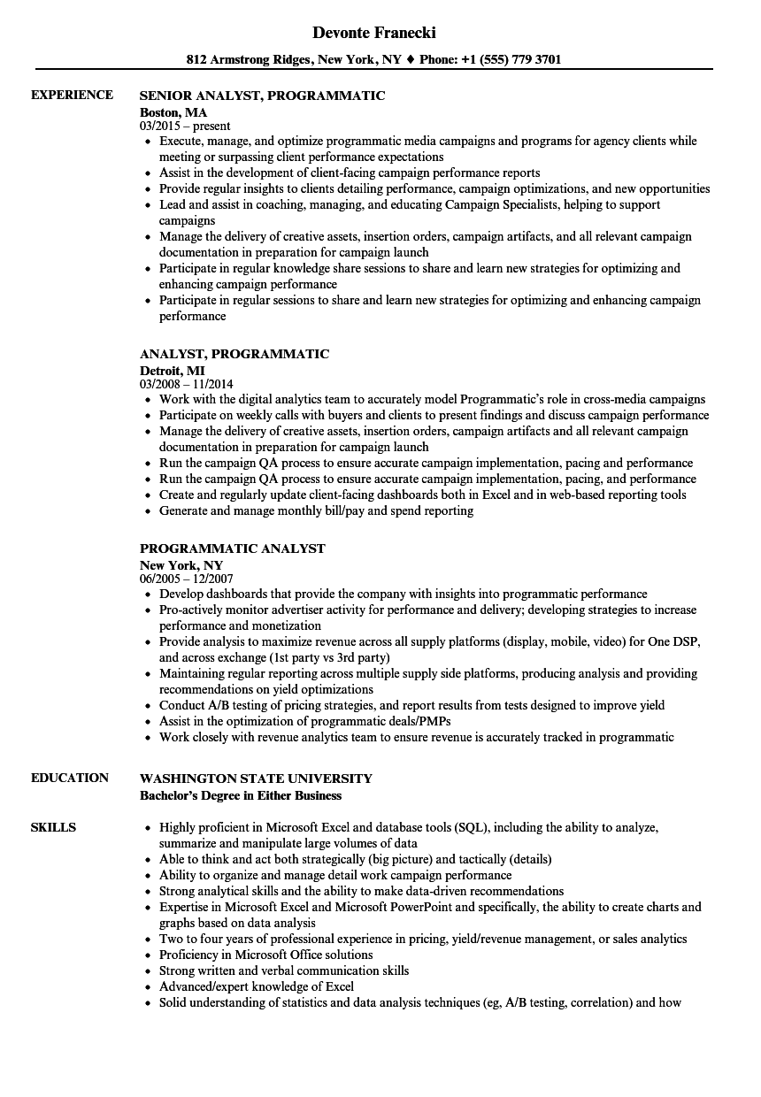 programmatic analyst resume samples