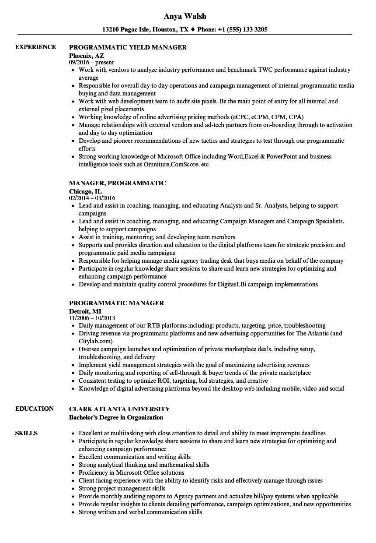 Programmatic Manager Resume Samples | Velvet Jobs