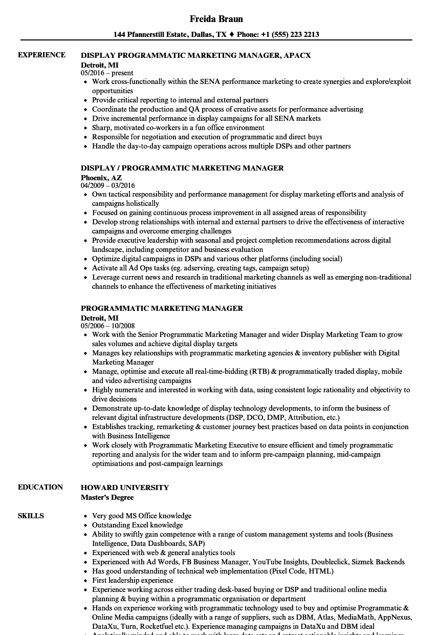 programmatic marketing manager resume samples