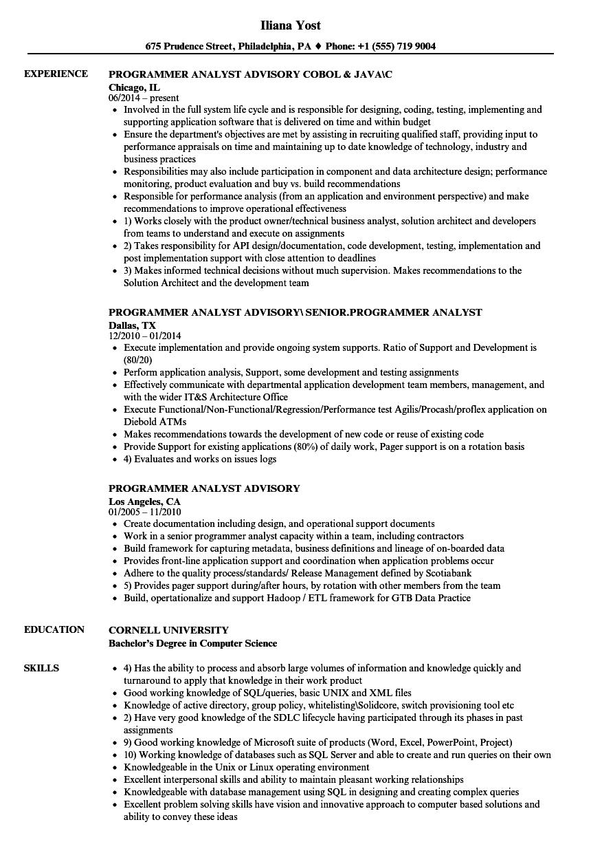 Programmer Analyst Advisory Resume Samples | Velvet Jobs