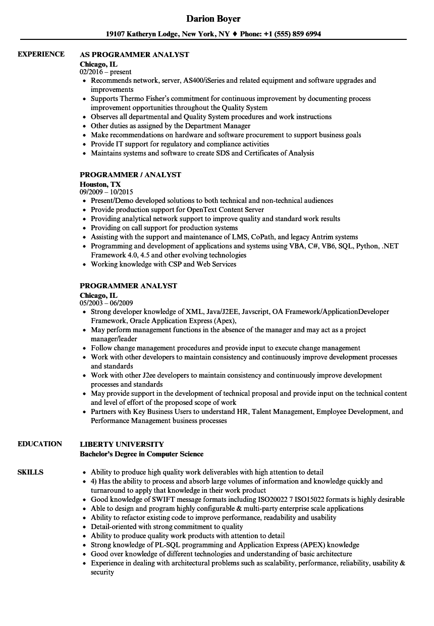 programmer analyst resume samples