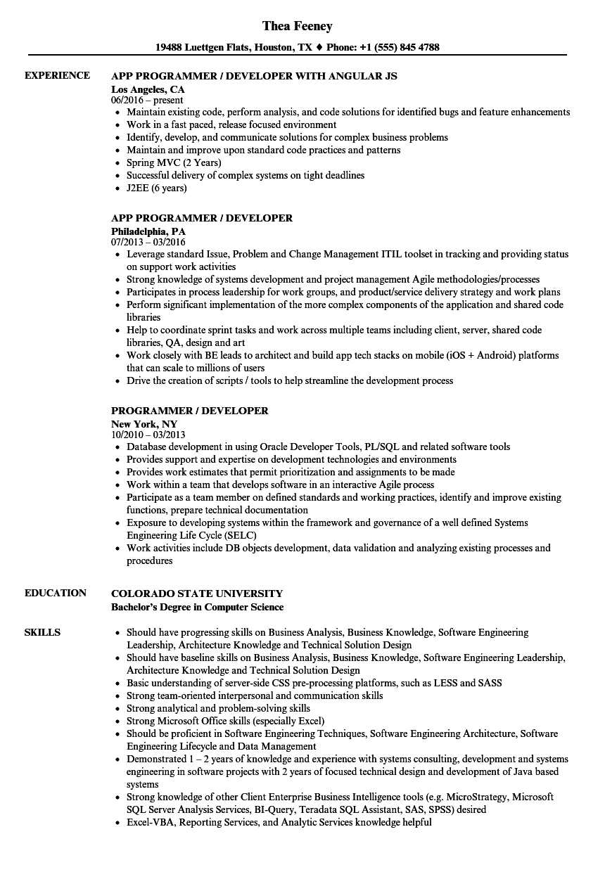 Programmer Developer Resume Samples Velvet Jobs