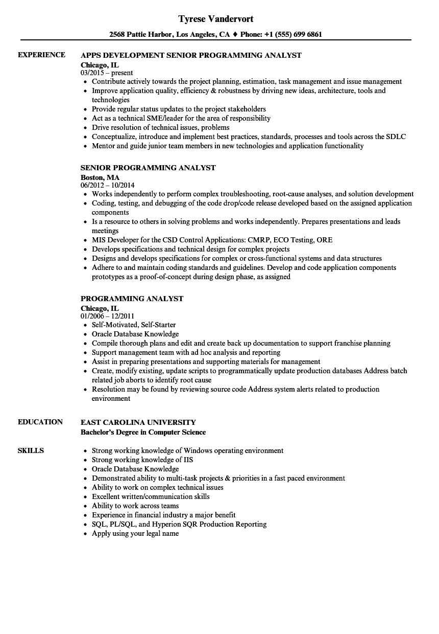Download Programming Analyst Resume Sample As Image File