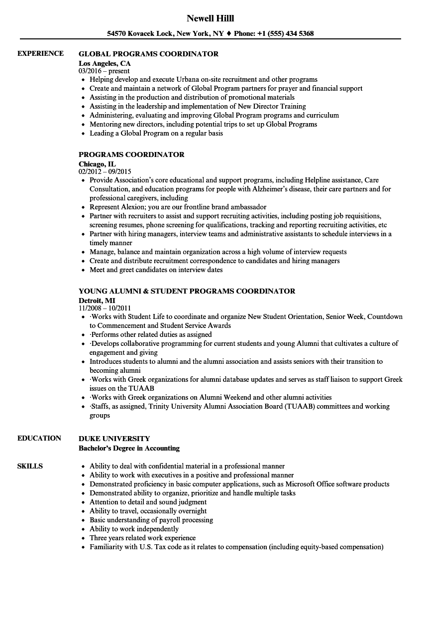 Download Programs Coordinator Resume Sample As Image File