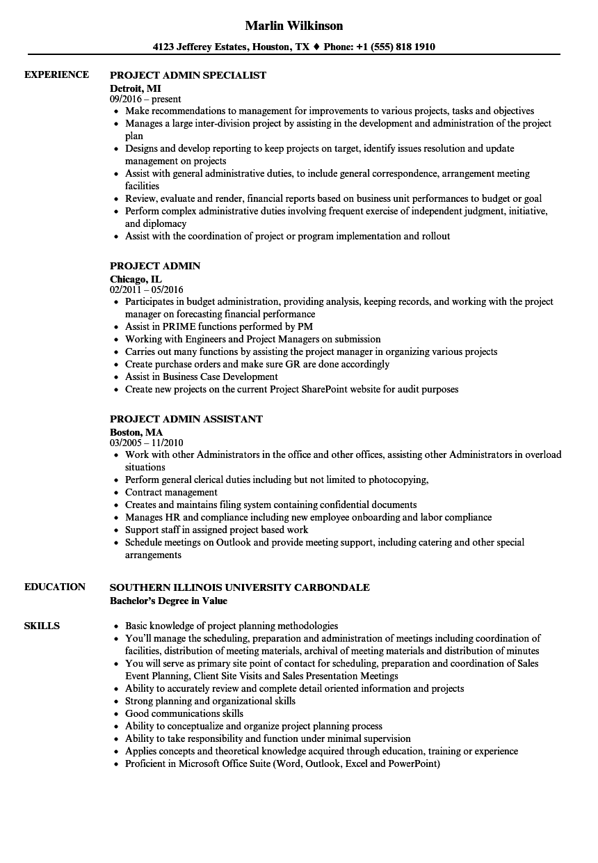 Download Project Admin Resume Sample As Image File  Admin Resume Sample