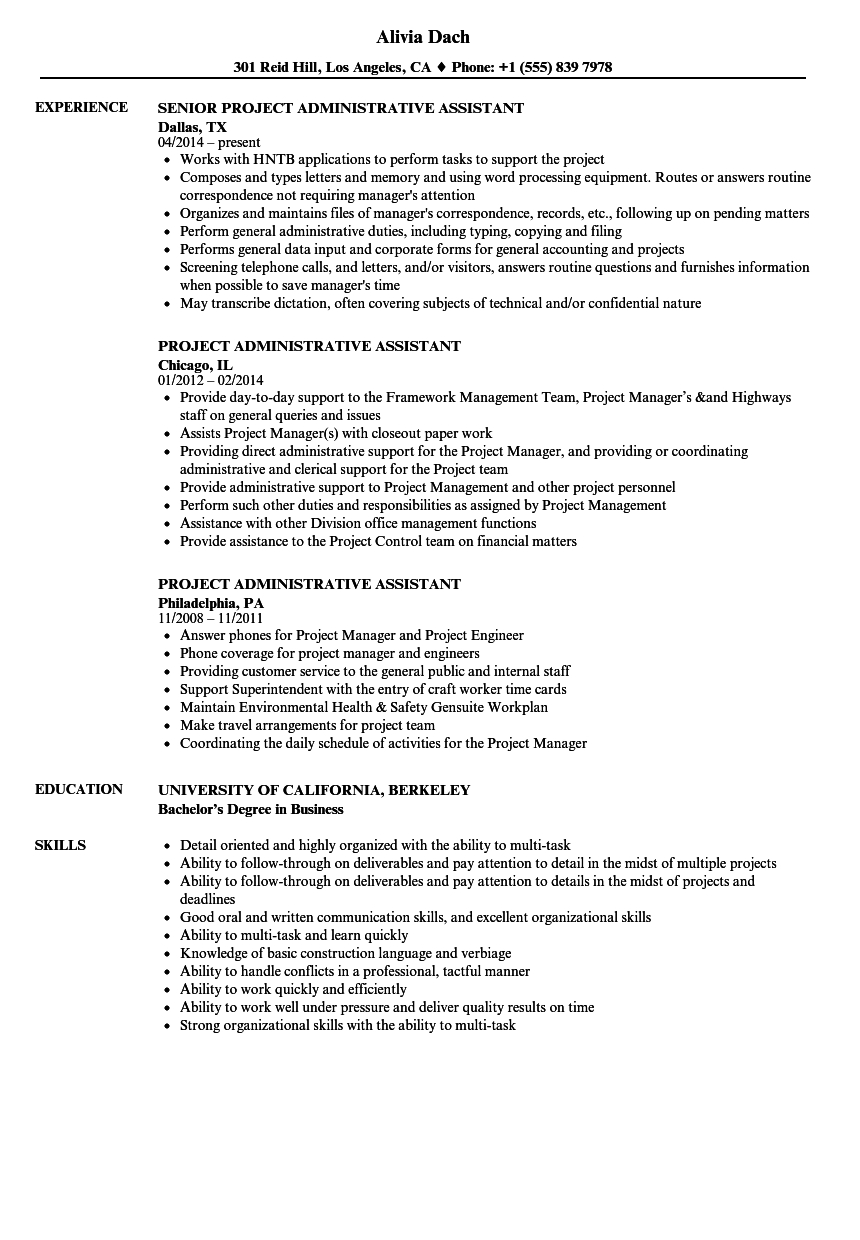 Project Administrative Assistant Resume Samples | Velvet Jobs