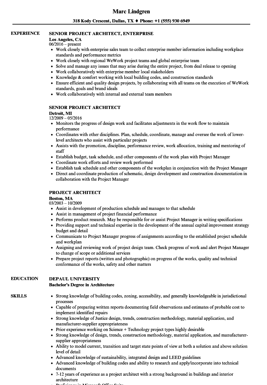 Project Architect Resume Samples Velvet Jobs