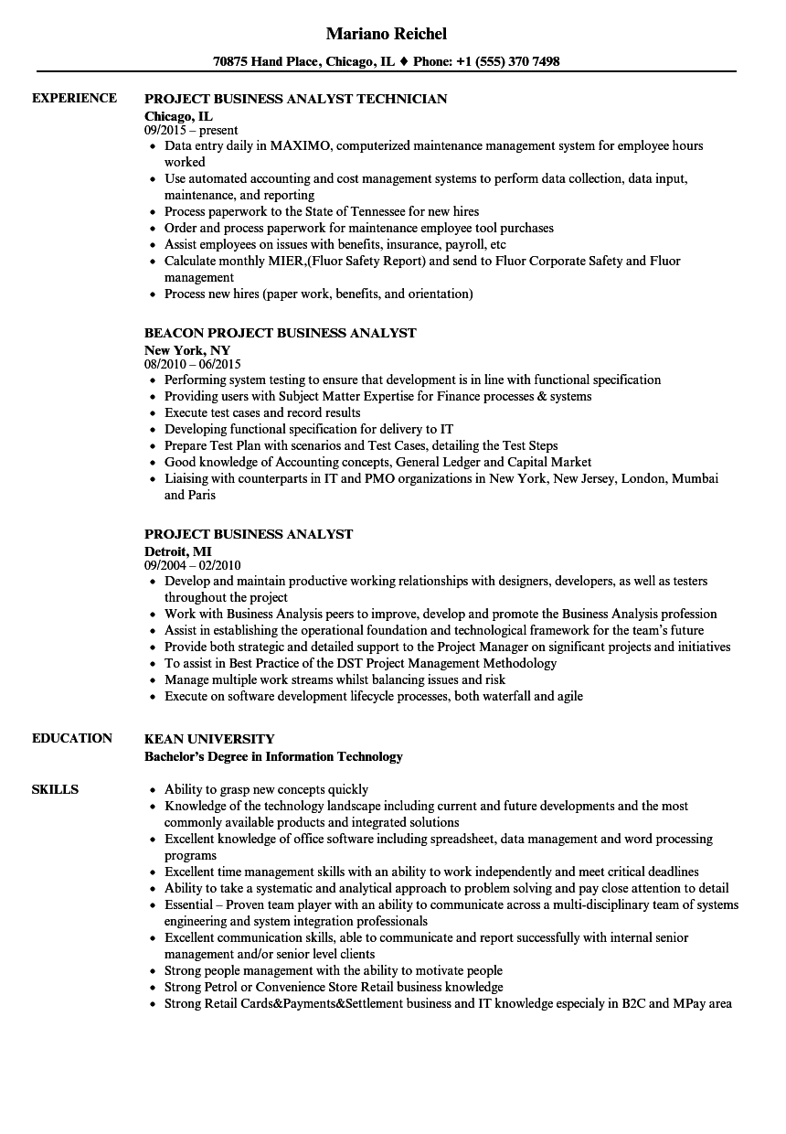Download Project Business Analyst Resume Sample As Image File