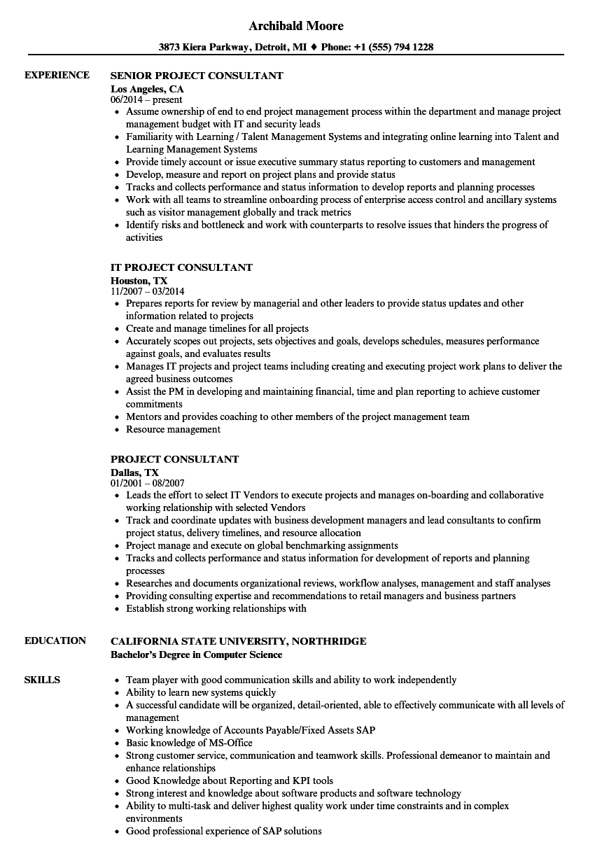 Download Project Consultant Resume Sample As Image File