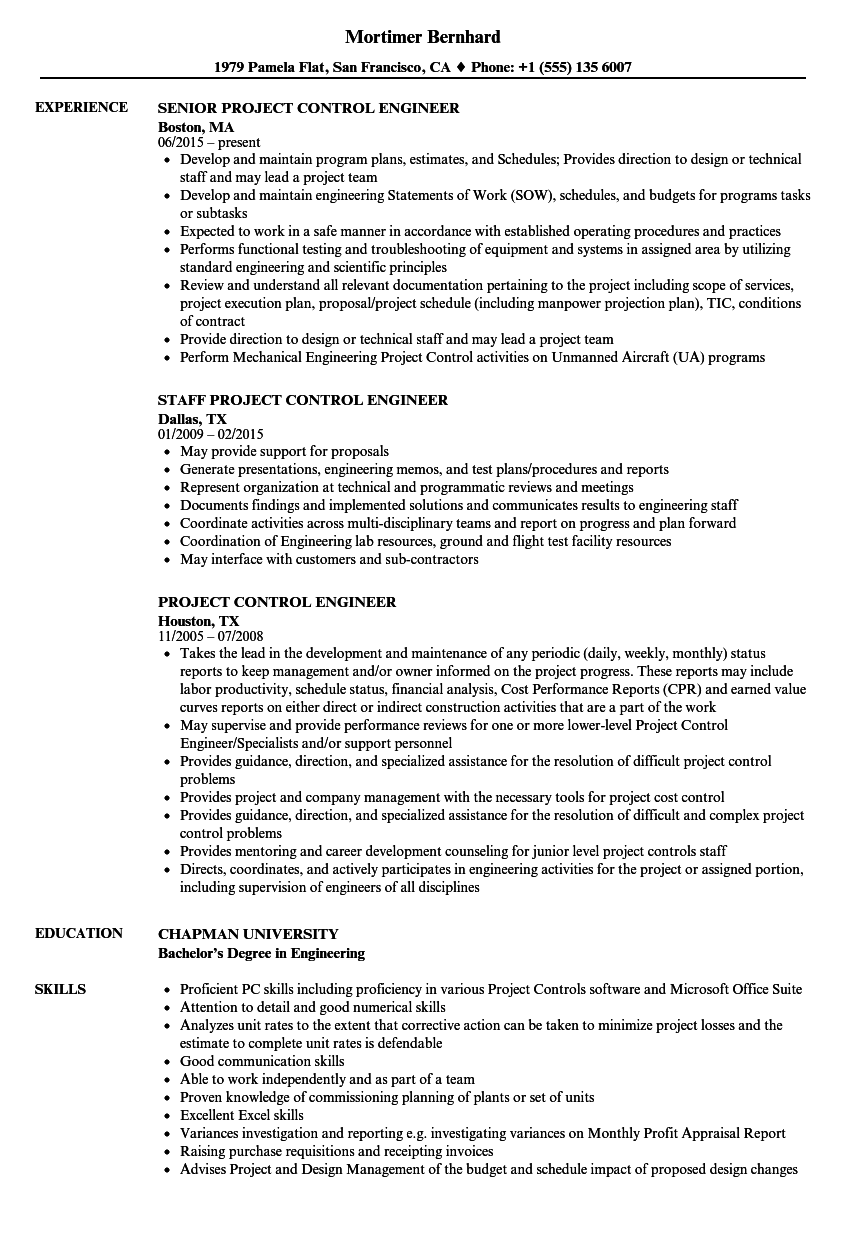 Project Control Engineer Resume Samples | Velvet Jobs