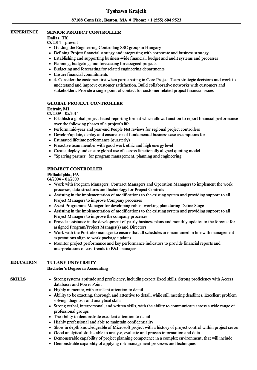 project controller resume samples