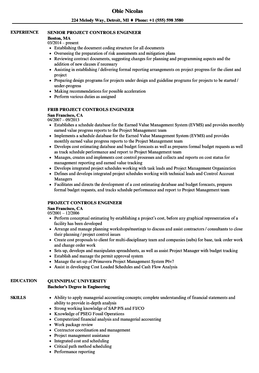 Project Controls Engineer Resume Samples | Velvet Jobs