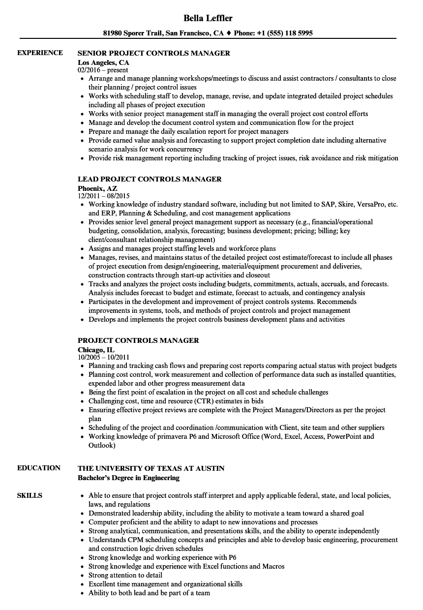 Project Controls Manager Resume Samples | Velvet Jobs