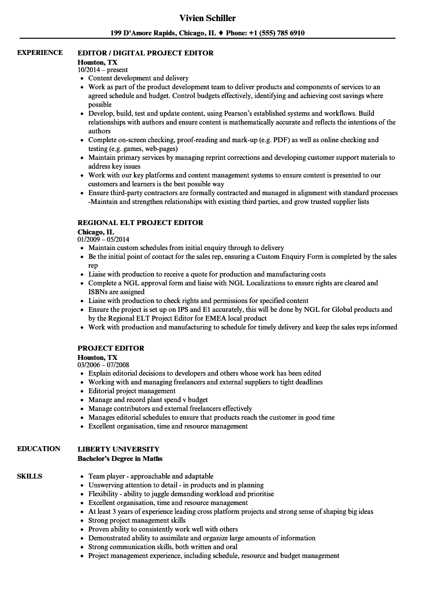 project editor resume samples