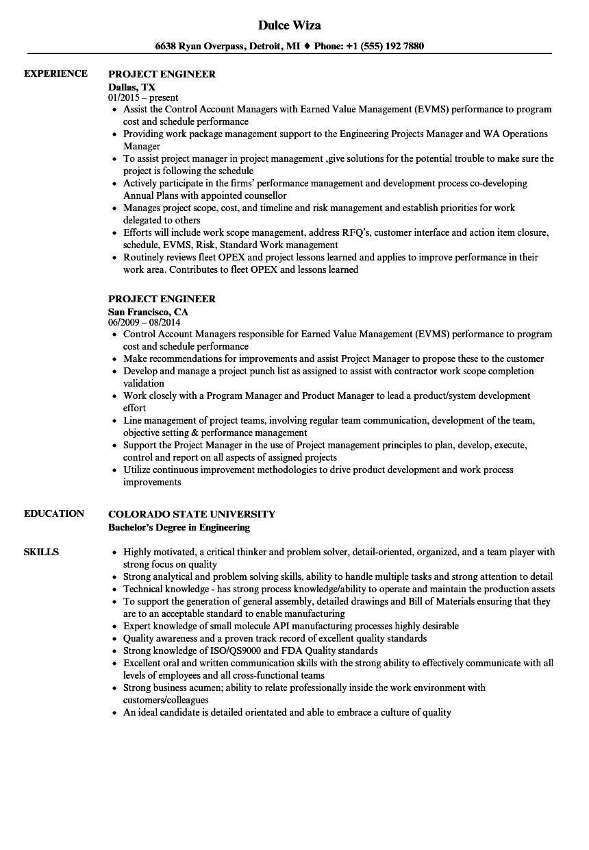 Project Engineer Resume Samples Velvet Jobs