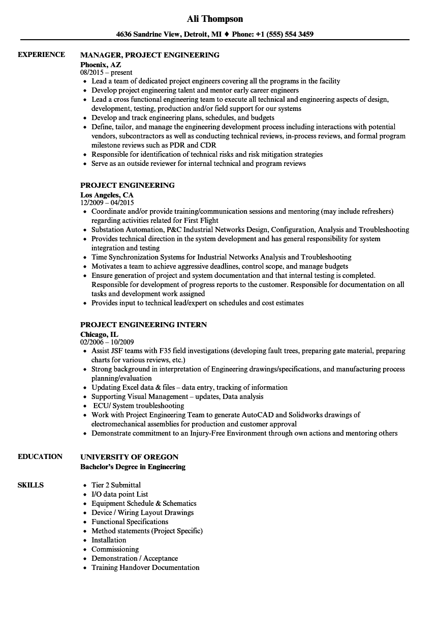 project engineering resume samples