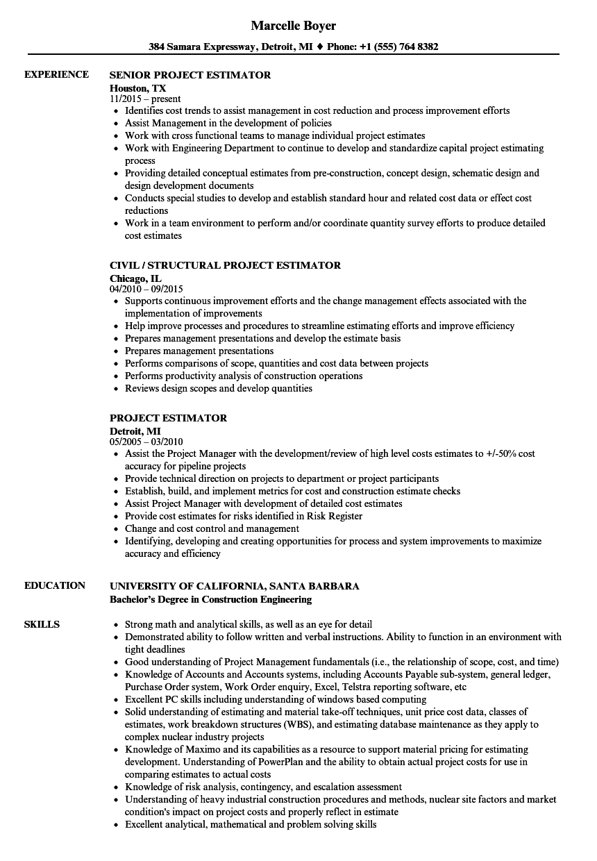 Project Estimator Resume Samples | Velvet Jobs