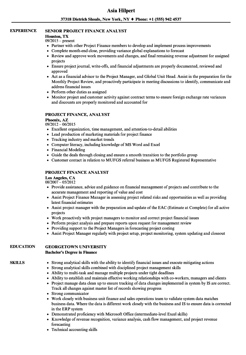 project finance analyst resume samples