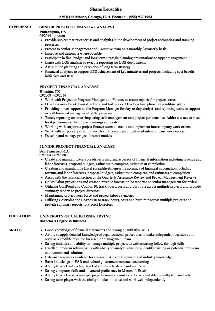 Project Financial Analyst Resume Samples | Velvet Jobs