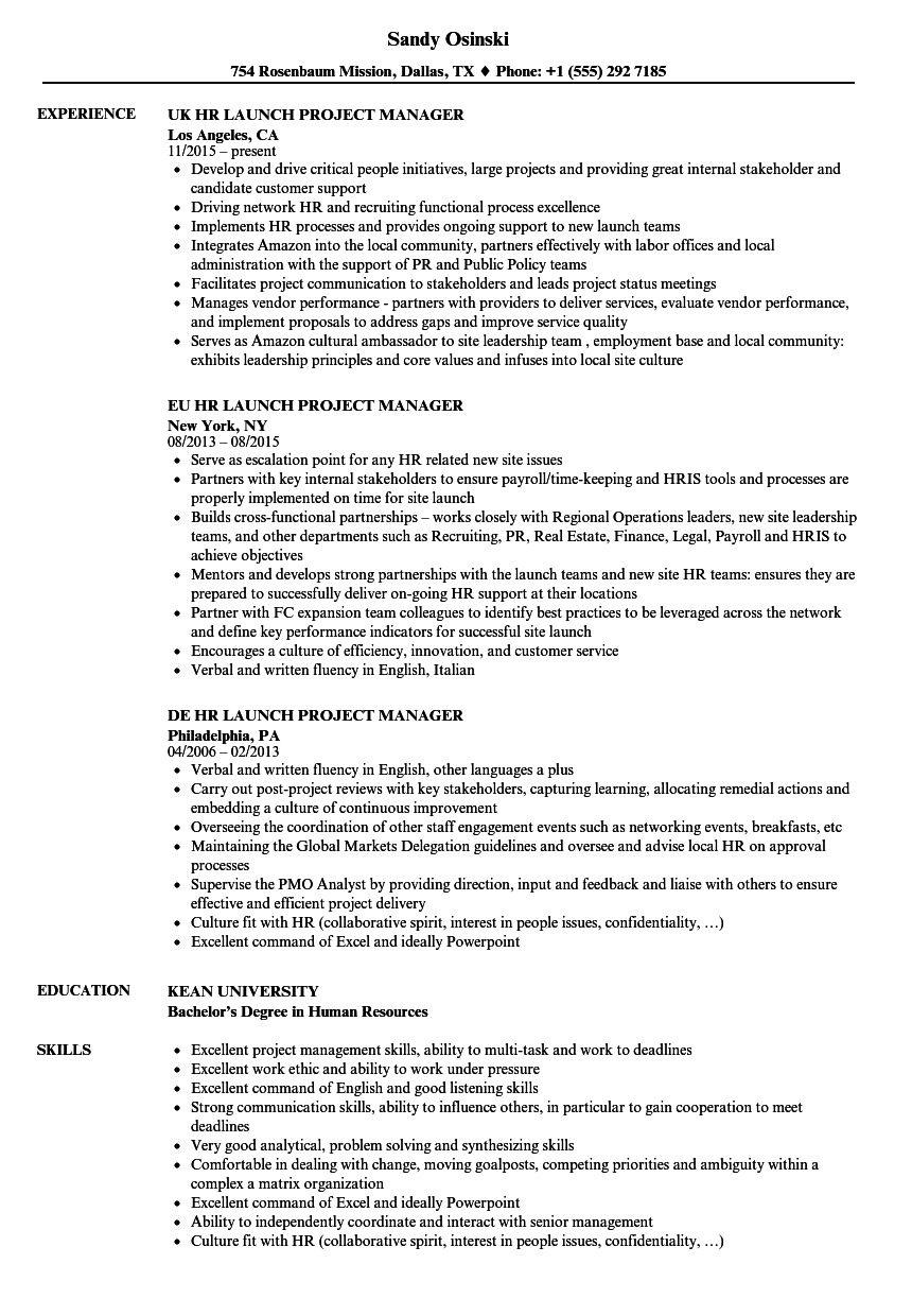 project hr manager resume samples